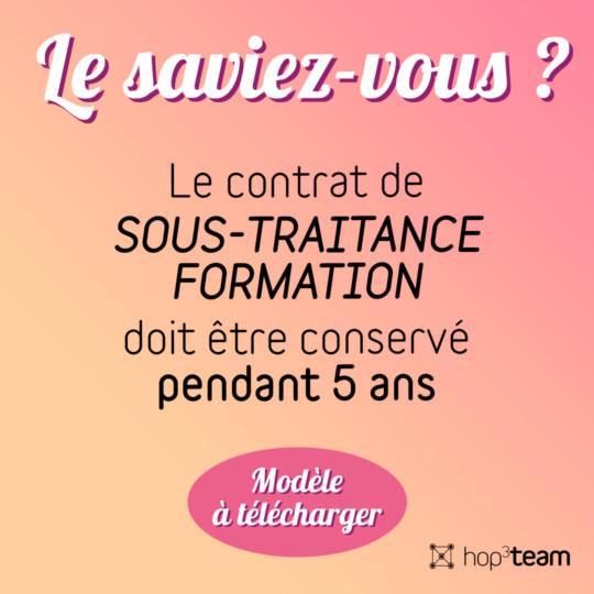 CONTRAT DE SOUS-TRAITANCE FORMATION
